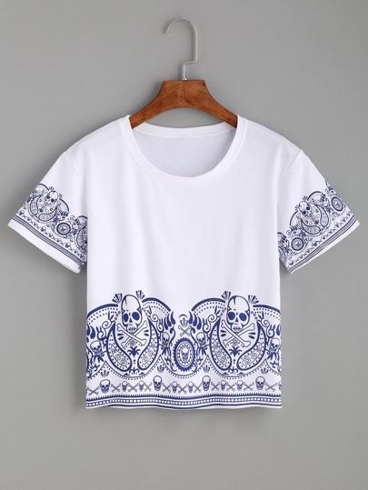 White Skull Print Crop T-shirt