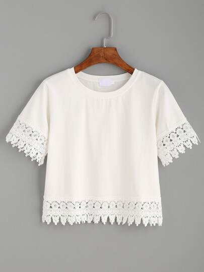 Crochet Trim Crop T-shirt