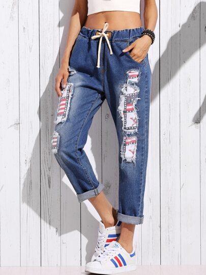 Jeans Strappati A Stelle A Strisce - Blu