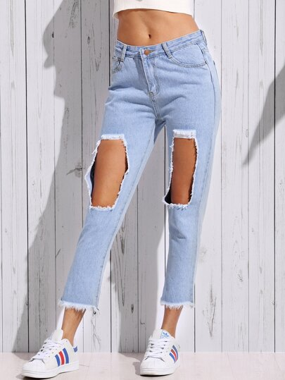 Blue Destroyed Frayed Ankle Jeans