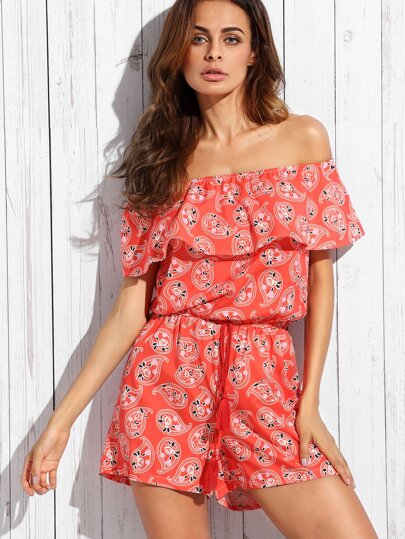 Red Paisley Print Ruffle Off The Shoulder Romper