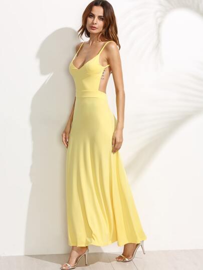 Yellow Deep V Neck Open Back Maxi Dress