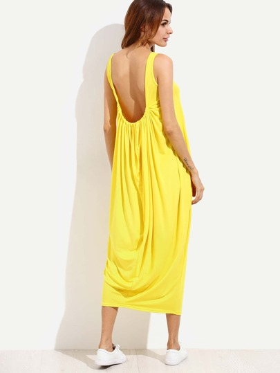Yellow Open Back Draped Shift Dress