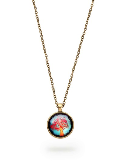 Golden Spiral Tree Art Pendant Necklace