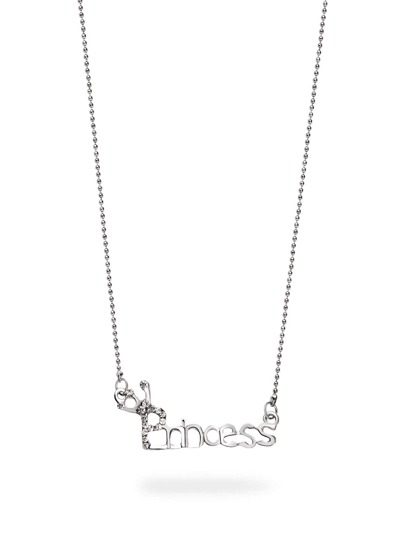 Silver Crown Princess Word Crystal Necklace