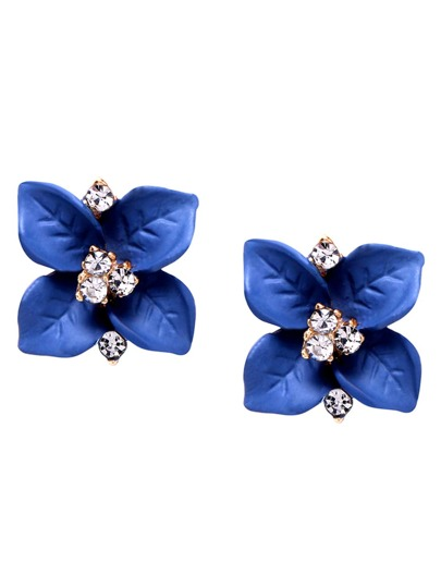 Blue Flower Crystal Stud Earrings