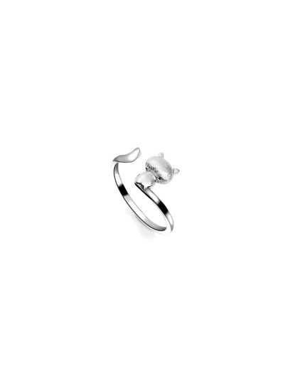 Silver Cute Cat Ring
