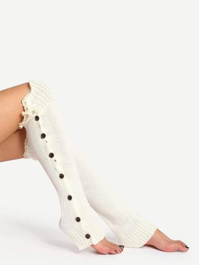 White Lace Trim Open Toe Boot Socks