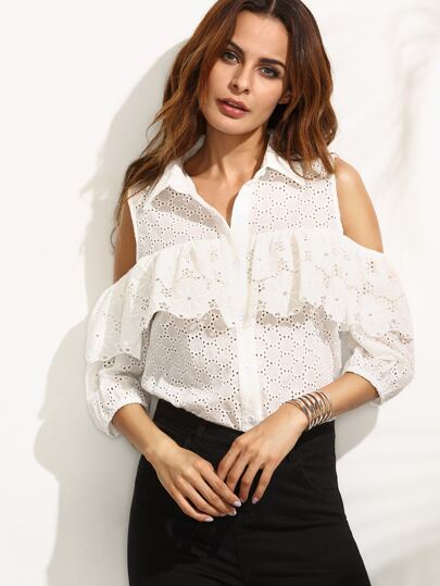 Beige Turndown Collar Ruffle Cold Shoulder Blouse