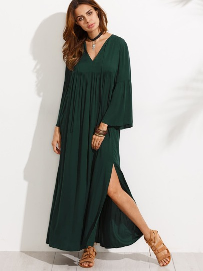 Bell Sleeve Split Maxi Dress