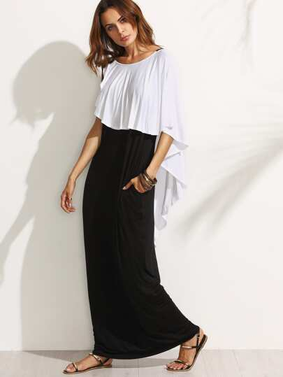 Black and White Backless Ruffle Maxi Dress