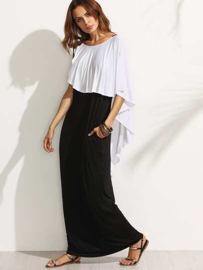 Robe longue dos en V plissé - noir blanc