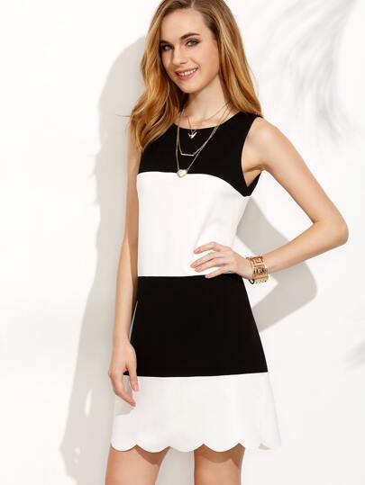 Colorblock Scallop Hem Sleeveless Dress
