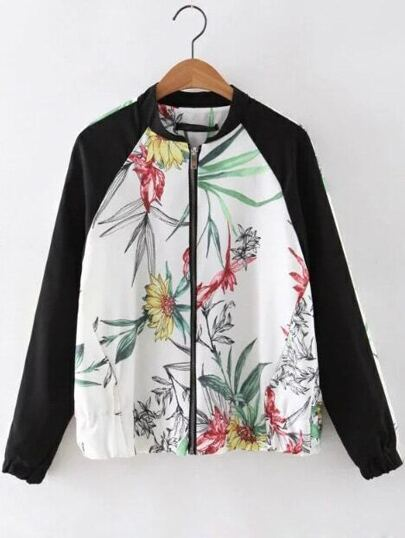 White Elastic Cuff Floral Zipper Jacket