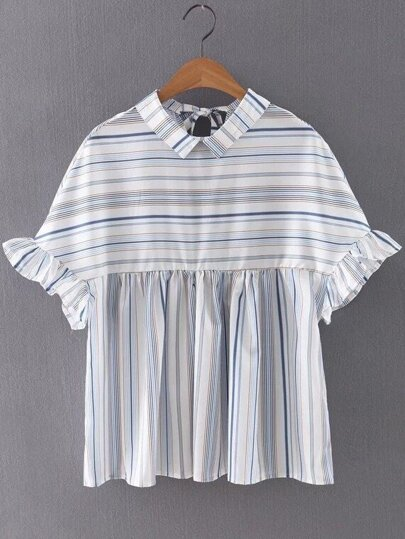Mix Stripe Lapel Ruffle Cuff Tie Back Blouse