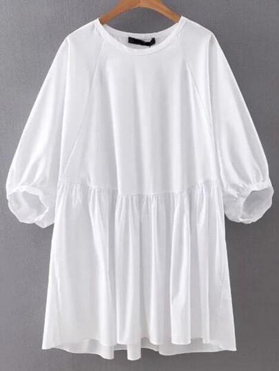 White Lantern Sleeve Plain Shift Dress