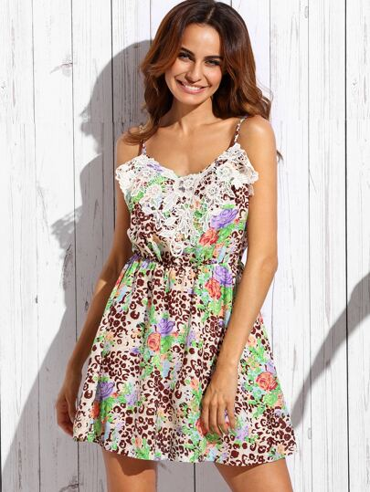 Multicolor V Neck Spaghetti Strap Floral Dress