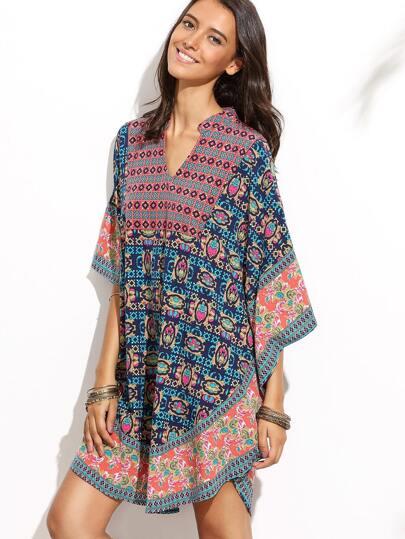 Multicolor V Neck Batwing Sleeve Vintage Dress