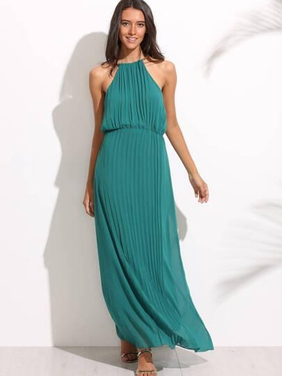 Green Halter Cutout Back Maxi Dress