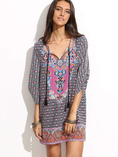 Kleid V-Ausschnitt Halbarm - mehrfarbig