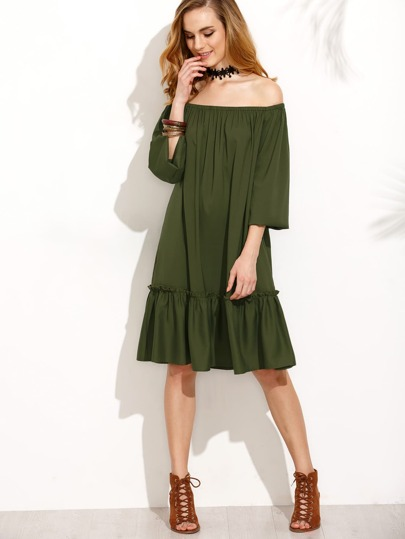 Army Green Ruffle Trim Off The Shoulder Dress
