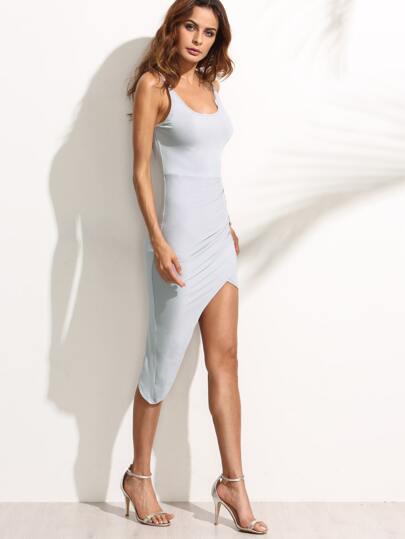 Backless Spaghetti Strap Asymmetrical Sheath Dress