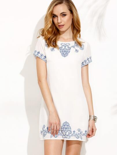 White Embroidered Zipper Back Short Sleeve Dress