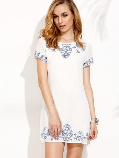 White Embroidered Zipper Back Short Sleeve Dress