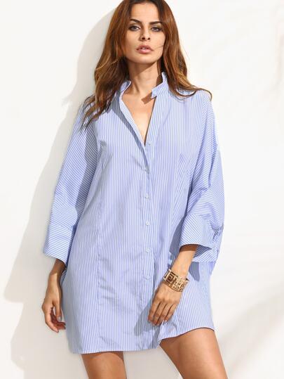 Blue Striped Shift Shirt Dress