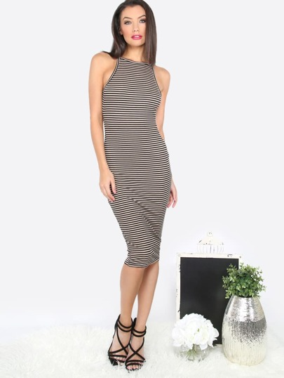 Striped Backless Sleeveless Sheath Dress