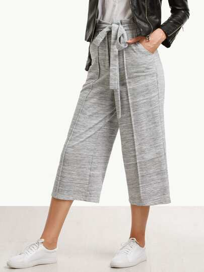 Grey Tie Waist Wide-leg Capris