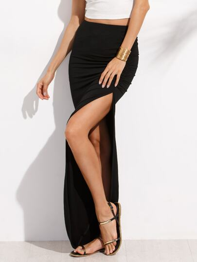 Black Split Asymmetrical Maxi Skirt