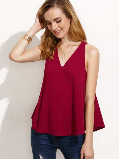 Burgundy V Neck Cutout Back Tank Top