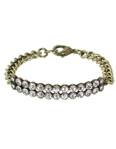 Silver Plated Rhinestone Chain Bracelet