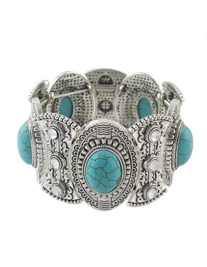 Turquoise Wide Elastic Bracelet