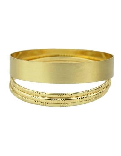Gold Plated Wide Bracelet Bangle Set