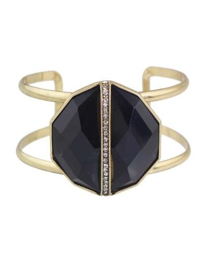 Black Rhinestone Wide Cuff Bracelet