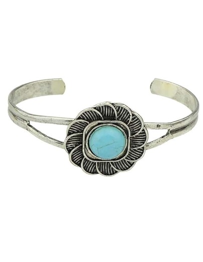 Silver Plated Turquoise Open Bracelet