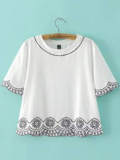 White Round Neck Embroidery T-shirt