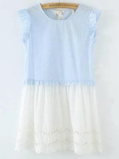 Blue And White Tie Back Hollow Dress