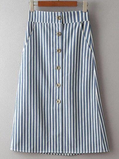 Blue Single Breasted Stripe Pocket Skirt