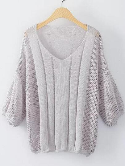 Grey V Neck Elastic Cuff Knitwear