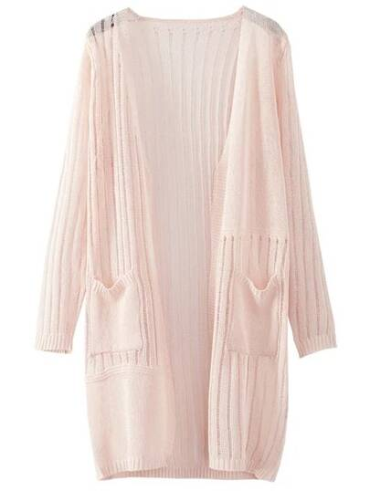 Pink Long Sleeve Pocket Cardigan