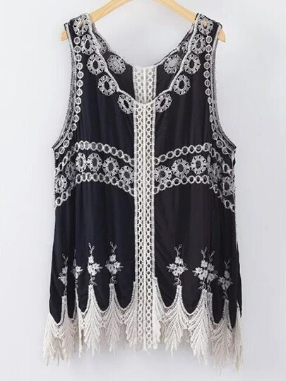 Black Embroidery Hollow Tank Top