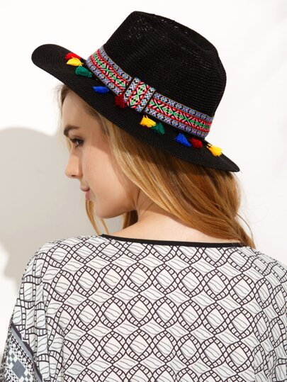 Black Vacation Pom Pom Embroidered Ribbon Wide Brimmed Straw Hat