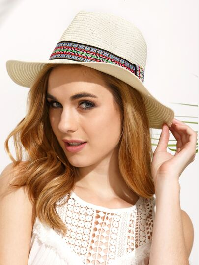 Beige Vacation Embroidered Ribbon Wide Brimmed Straw Hat
