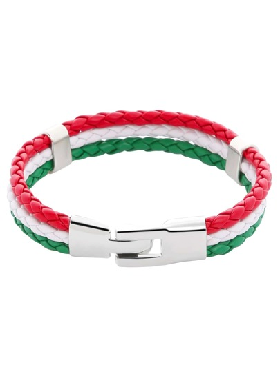 Italy Flag Three Color Woven Leather Bracelet