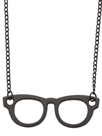 Black Glasses Pendant Necklace