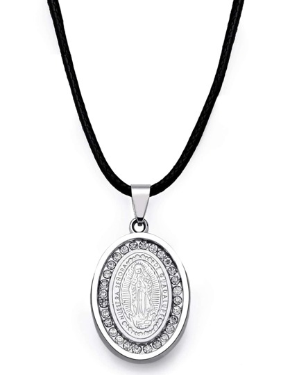 Silver Madonna Badge Pendant Necklace