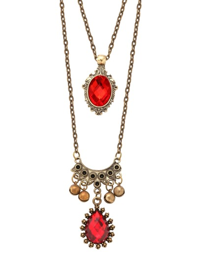 Red Gemstone Small Bell Double Chain Pendant